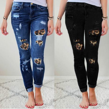 jeans con estampado de leopardo y pies elásticos NHYD299369's discount tags
