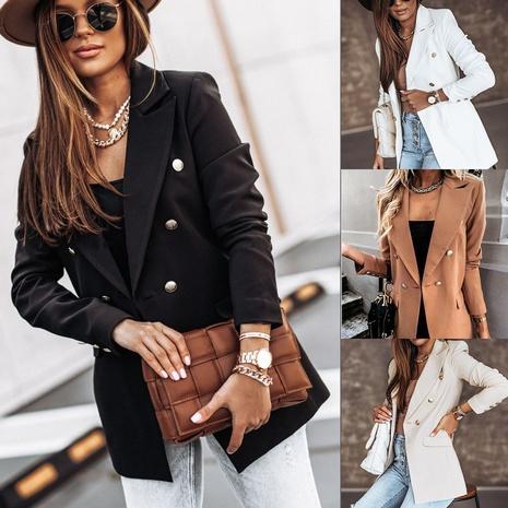 chaqueta de traje cruzada en color liso NHYD299371's discount tags