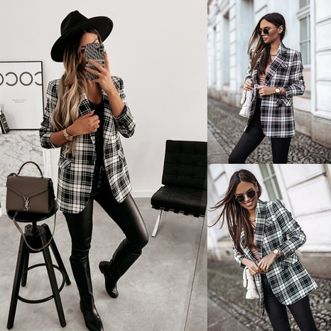 double-breasted plaid suit jacket  NHYD299372's discount tags
