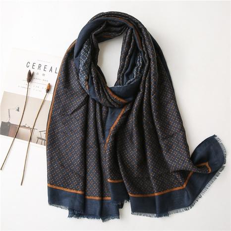 blue geometric cotton linen silk scarf NHGD299501's discount tags
