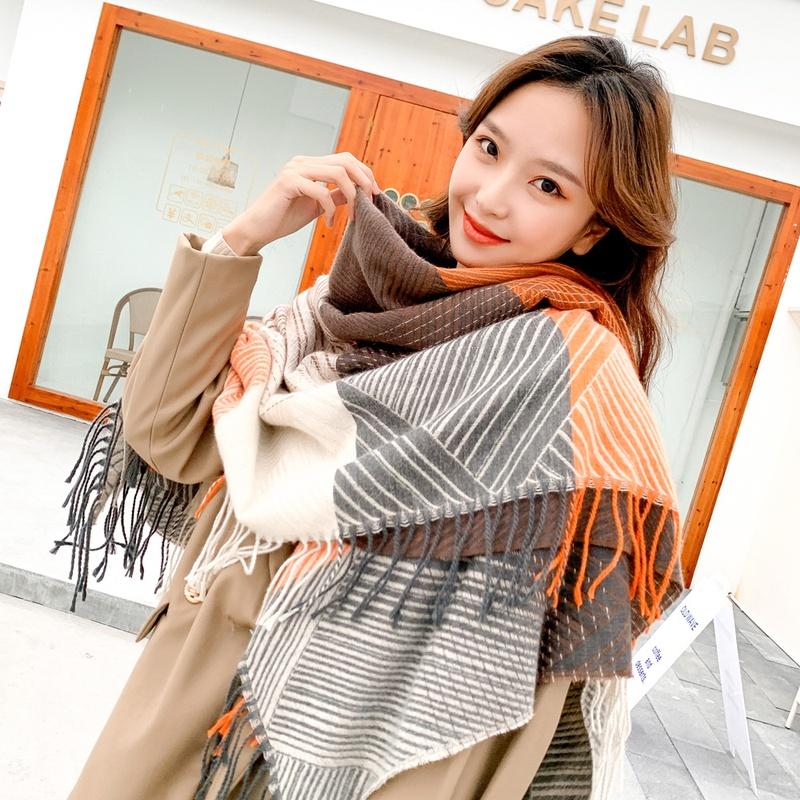 Striped large square scarf  NHMN299534