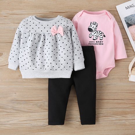 fashion pullover three-piece baby animal print romper suit  NHLF299683's discount tags