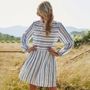 new casual stitching striped doll version loose dress NHDF299711