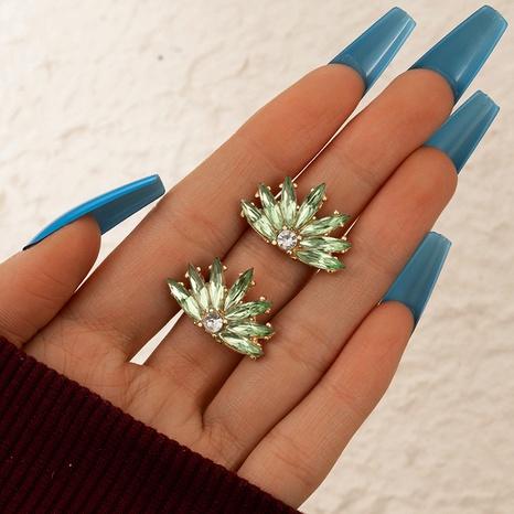Textur grüner großer Blumenohrring NHGY299829's discount tags
