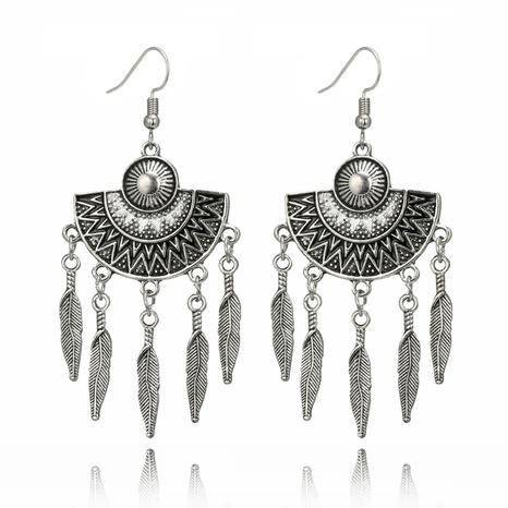 retro geometric fan shaped drop oil alloy tassel leaves long earrings  NHGY299815's discount tags