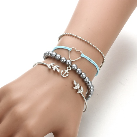 fashion exaggeratednew leaf hollow peach heart anchor bracelet NHGY300127's discount tags