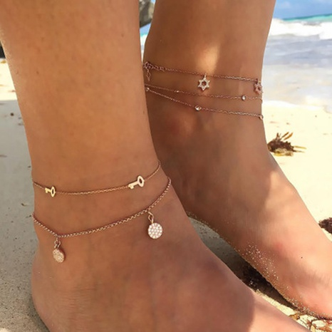 new fashion multi-layer diamond-studded five-pointed star anklet NHGY300357's discount tags