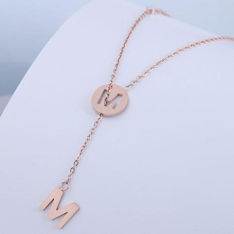 Korean fashion sweet OL letter M titanium steel necklace NHSC300350's discount tags
