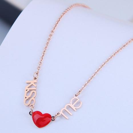 Collar de acero de titanio de amor rojo OL dulce de moda coreana NHSC300348's discount tags