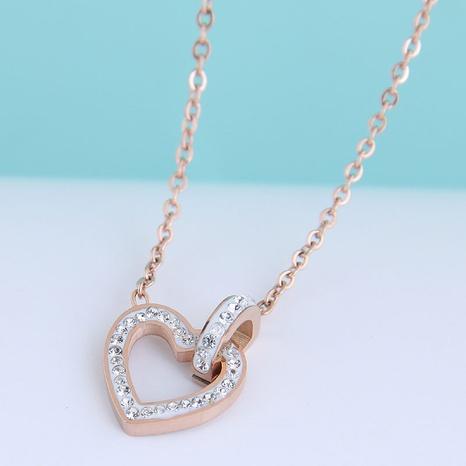 Collar de acero de titanio con corazón de amor con diamantes de Flash OL de moda NHSC300347's discount tags
