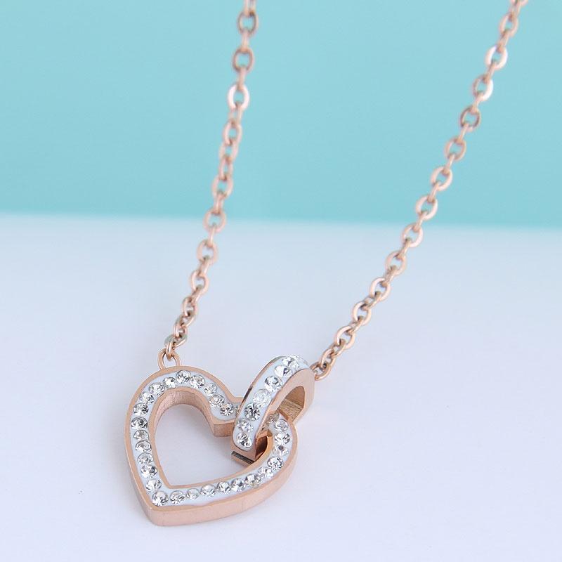 Fashion Sweet OL Flash Diamond Love Heart Titanium Steel Necklace NHSC300347