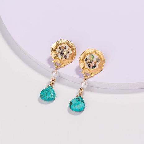 Mode grüne Stein Wassertropfen Ohrringe NHAN299847's discount tags