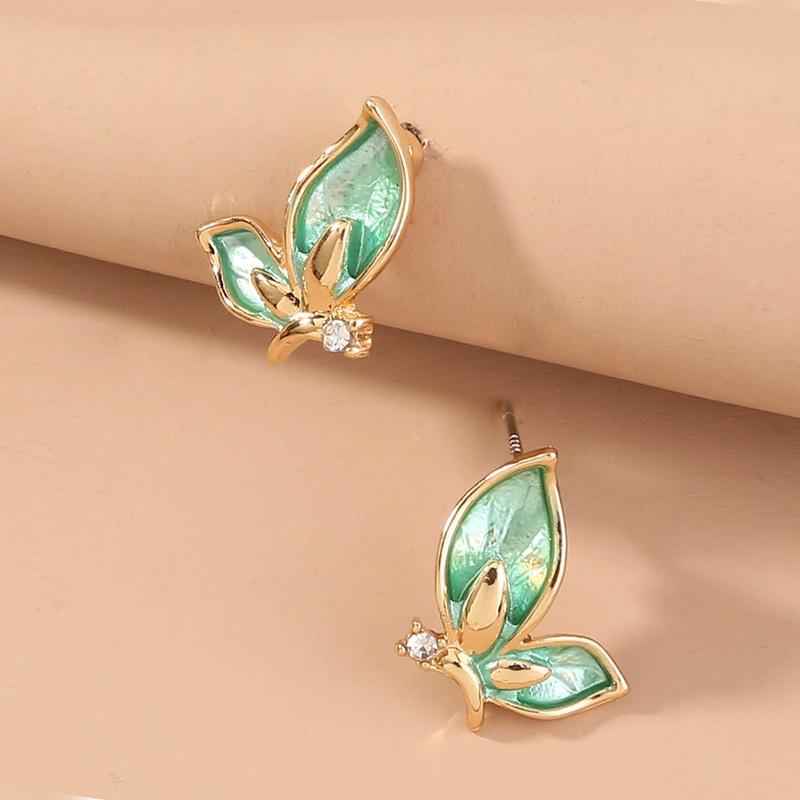 green butterfly micro diamond stud earrings NHAN299852