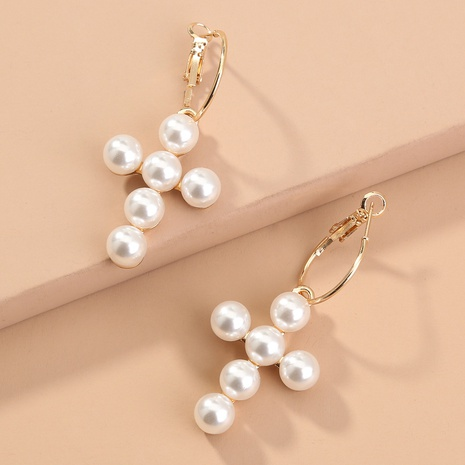 fashion cross pearl alloy earrings NHAN299904's discount tags