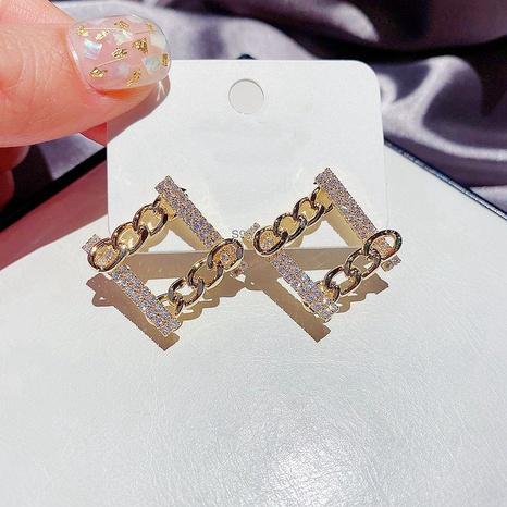 fashion metal chain square earrings NHCG299933's discount tags