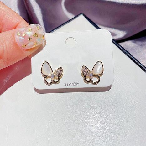 mikro-eingelegte Zirkon-Schmetterlings-Ohrstecker NHCG299940's discount tags