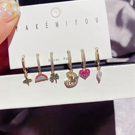 Fashion zircon micro-inlaid unicorn heart-shaped earrings set  NHCG299949's discount tags