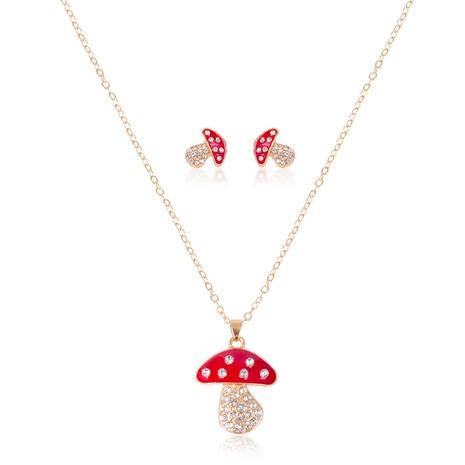 Mode Diamant kleine Pilz Anhänger Halskette Ohrringe Set NHSD299974's discount tags