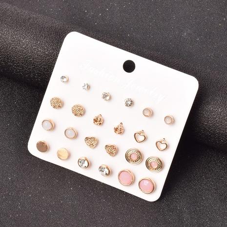 fashion diamond-studded geometric heart-shaped earrings set NHSD299976's discount tags