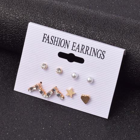 Mit Diamanten besetzte geometrische Dreieckssternohrringe aus Korea-Legierung NHSD299980's discount tags