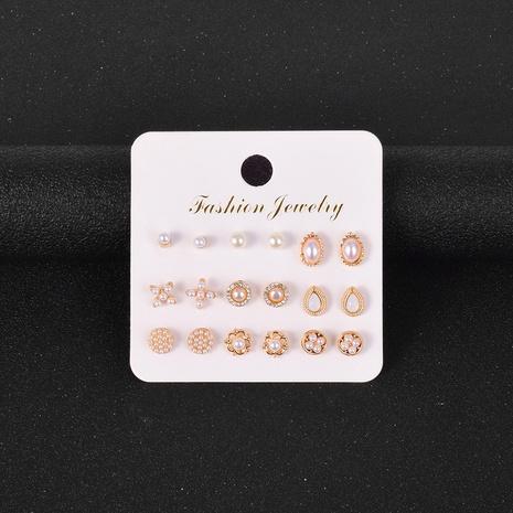 Koreanische neue künstliche Perle Strass Ohrringe Set NHSD299986's discount tags