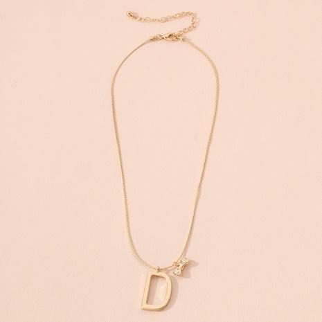 collier à pendentif lettre D simple nœud NHAI299993's discount tags