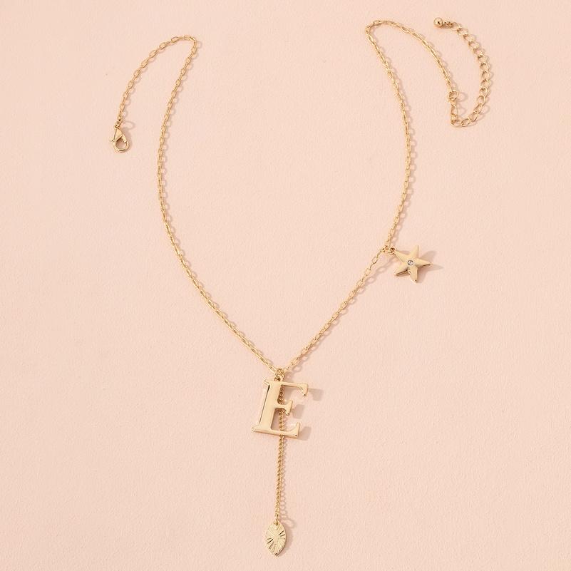 Korea simple English letter E pendant necklace NHAI300002