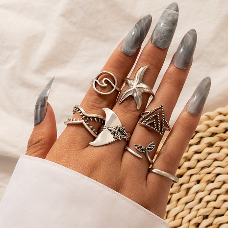 fishtail starfish rings 7-piece set NHGY300007's discount tags