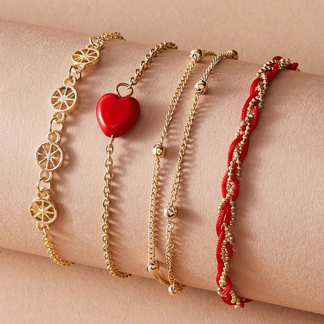 fashion red heart bracelet 4-piece set NHGY300008's discount tags