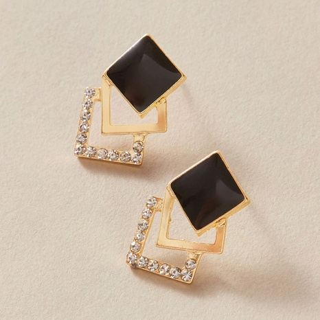 black square diamond earrings NHGY300010's discount tags