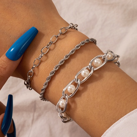 punk style silver pearl bracelet 3-piece set NHGY300013's discount tags