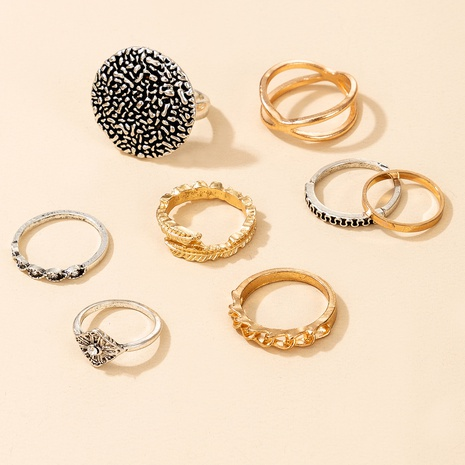 retro gold and silver rings 8-piece set NHGY300021's discount tags