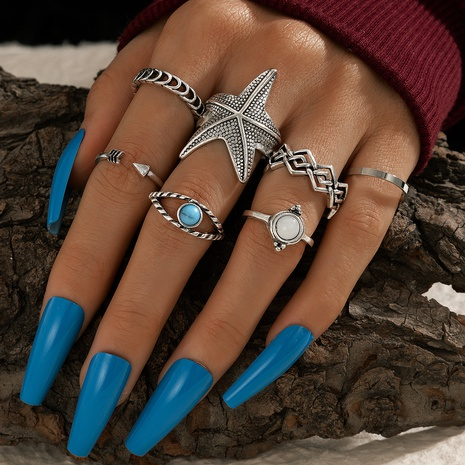 turquoise starfish arrow open rings 7-piece set NHGY300024's discount tags