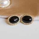 Oval white black diamond earrings NHOM300062