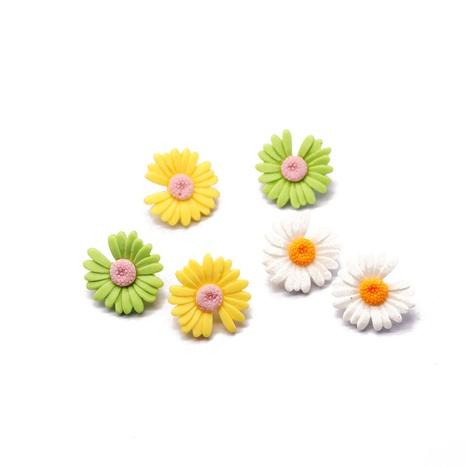 gelbgrüne weiße Harzblumenohrringe NHOM300060's discount tags
