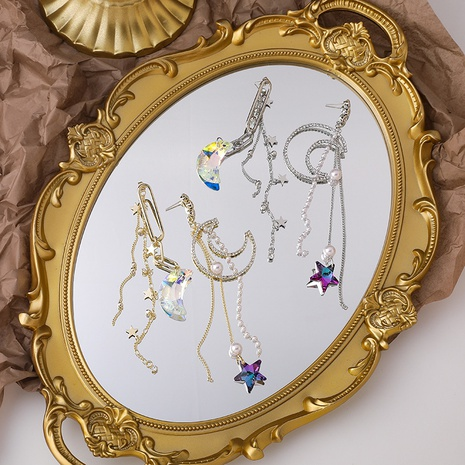 Star Moon Crystal Earrings NHMS300125's discount tags