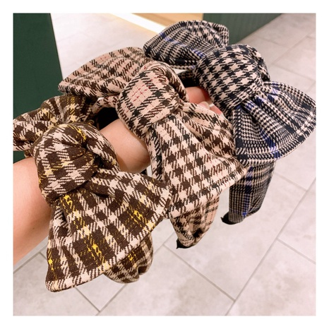 Korean retro houndstooth large bow hit color wide-brimmed headband NHHD300179's discount tags