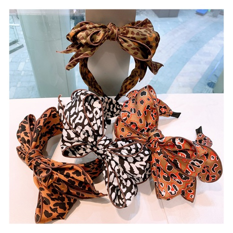 Korea retro silk leopard dot pattern multilayer headband NHHD300196's discount tags