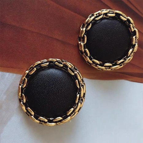 Korea metal chain PU leather round earrings NHYQ300242's discount tags