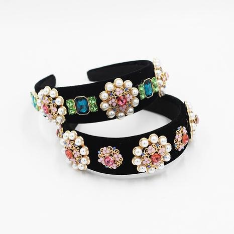 Diadema exagerada de flores de perlas de diamantes barrocos NHWJ300265's discount tags