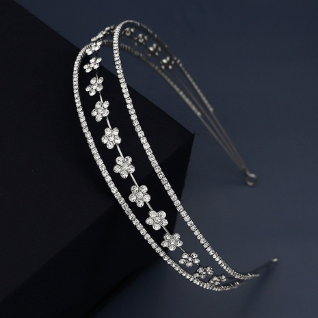 diamond-studded flowers elastic headband  NHHS300273's discount tags