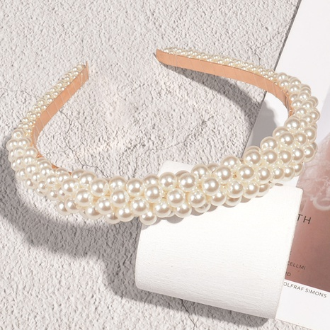 French retro pearl headband NHAQ300276's discount tags
