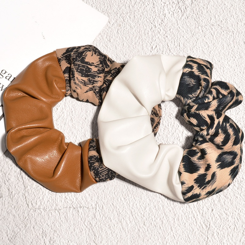 PU leather leopard print hair scrunchies NHAQ300282