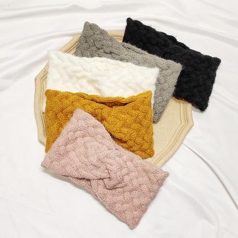 bandeau croisé à larges bords en laine tressée NHAR300293's discount tags