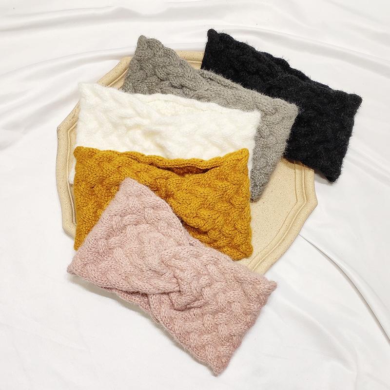 bandeau crois  larges bords en laine tresse NHAR300293