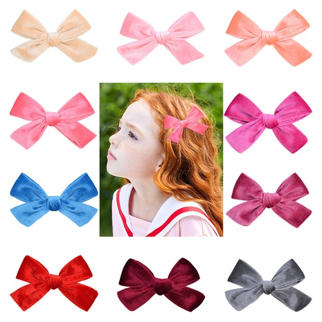 new children's handmade Korean flannel creative bow hairpin set NHMO300336's discount tags