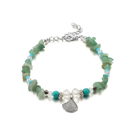 creative fashion turquoise alloy shell single layer anklet NHGY300601's discount tags