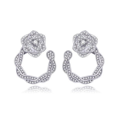 Korean fashion female simple zircon earrings NHTM300206's discount tags