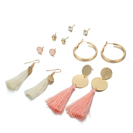 new long tassel alloy disc earrings NHGY300600's discount tags