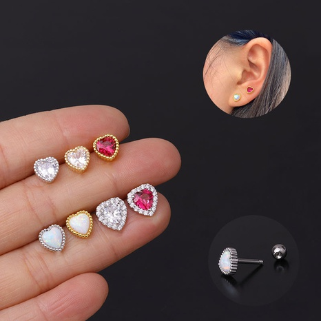 fashion screw screw ball zircon opal love earring  NHEN299957's discount tags